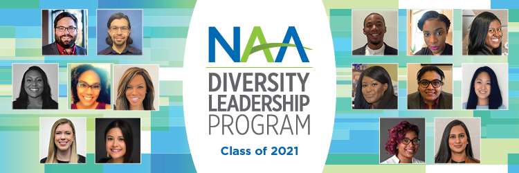 """Several headshots of a diverse group of professionals, with text reading """"NAA Diversity Leadership Program: Class of 2021"""""""