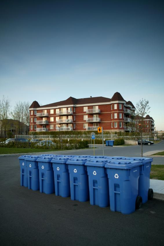 Recycling Bins Near Apartment Building