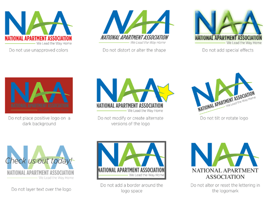Incorrect Usage guide for the NAA logo, including using unapproved colors, distorting the shape, using a dark background, adding special effects, creating alternate logos, tilting or rotating the logo, altering lettering, using a border, and putting text overtop the logo