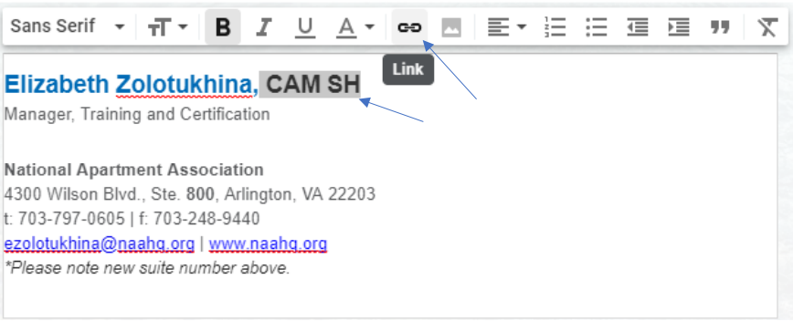 """The sample signature, with the certification highlighted and a blue arrow pointing to the """"Add hyperlink"""" button"""