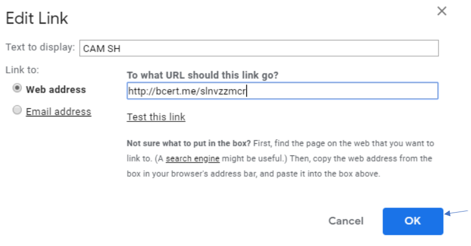 """The same """"Edit Link"""" popup window, with a blue arrow pointing to the """"OK"""" button"""