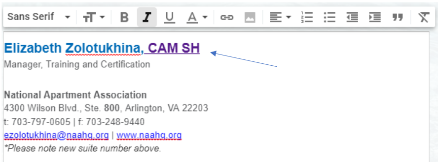 The sample email signature, with the certification linked to the BadgeCert URL