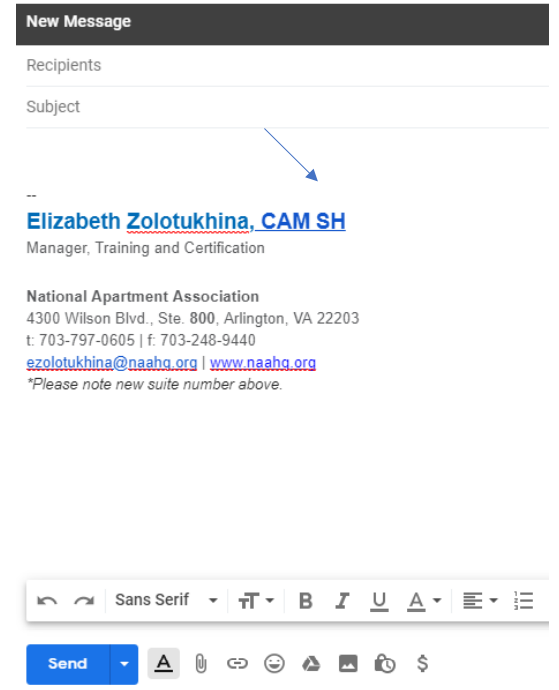 A screenshot of how the signature will look on a blank email.