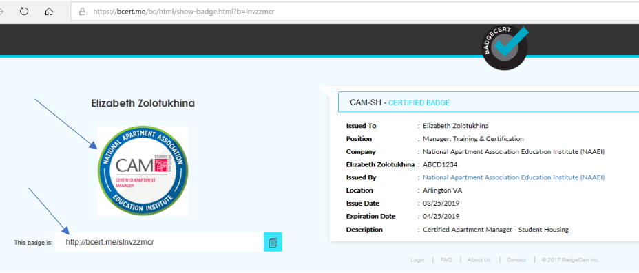 The BadgeCert landing page, with blue arrows pointing to both the image of the BadgeCert and the URL where the user can access the badge information.