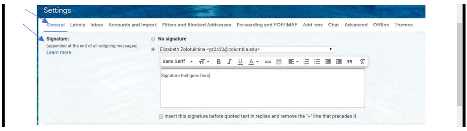 """The settings popup menu, with blue arrows pointing to the """"General"""" tab and, within that tab, the """"Signature"""" section."""
