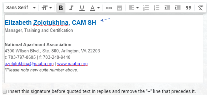 An example of an email signature, featuring the name, certification, and contact information