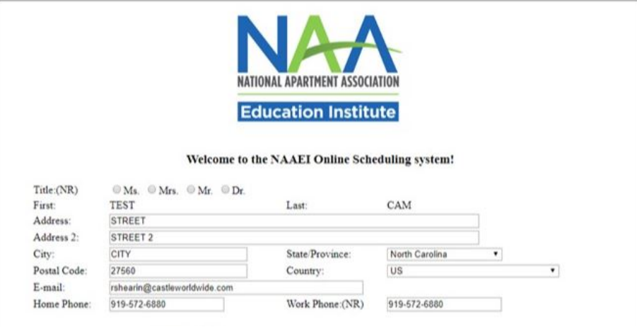 A screenshot of the NAAEI exam scheduling system, showing several fields to put personal registration information.