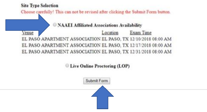 """A screenshot of the NAAEI scheduling system, with an arrow pointing to a bubble next to the option, """"NAAEI Affiliated Associations Availability"""""""