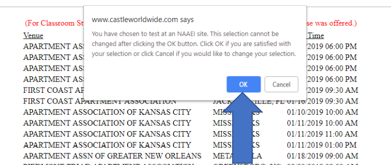 """A pop-up message reading, """"You have chose to test at an NAAEI site. This selection cannot be changed after clicking the OK button. Click OK if you are satisfied with your selection or click Cancel if you would like to change your selection."""""""