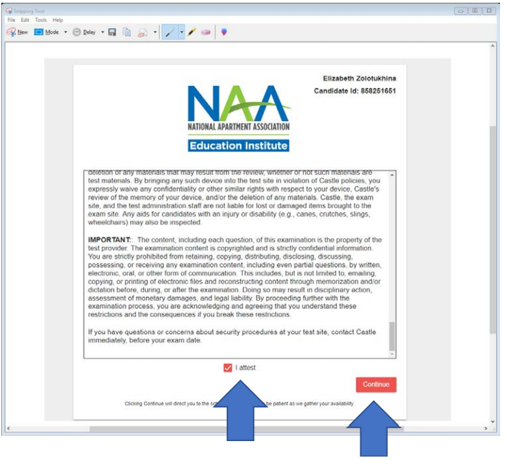 """A document containing admission requirements, and two arrows pointing to a box that says """"I attest"""" and a submit button."""