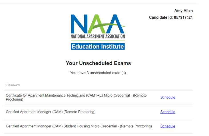 A dashboard with a list of the user's unscheduled exams.