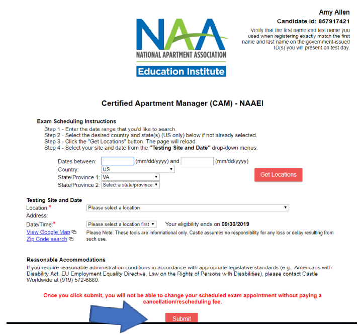 A screen showing the scheduling page for an exam. There are several fields for the user's information and a blue arrow pointing to the submit button.