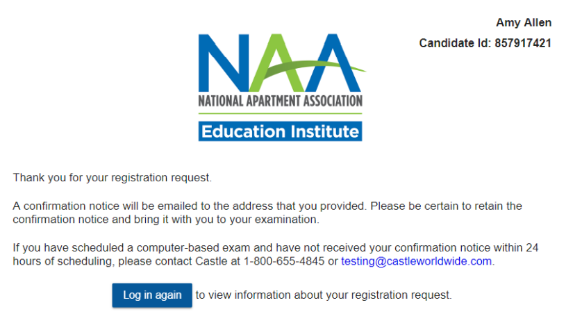 A screenshot of the exam scheduling confirmation page.