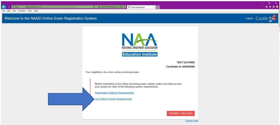 """The registration welcome screen, with a blue arrow pointing to a link reading, """"Live Online Proctor Requirements."""""""