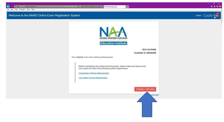 """The registration welcome screen, with a thick blue arrow pointing to a red button that says, """"Schedule/Take a live online proctoring exam."""""""