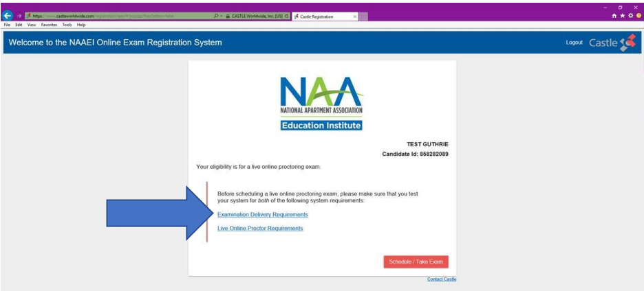 """The registration welcome screen with a blue arrow pointing to a link reading, """"Examination Delivery Requirements."""""""