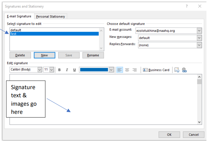 """A screenshot of the Signatures popup window, with a blue arrow pointing to the newly created signature and another blue arrow pointing to the field where the user can create their signature. Text over the latter says, """"Signature Text & Images Go Here"""""""