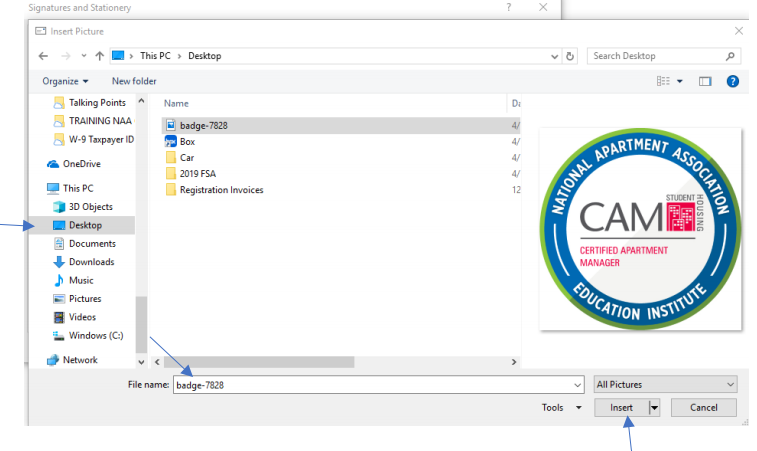The popup window where the user can navigate to and select their BadgeCert image.