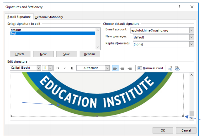 The BadgeCert image in the signature text box, with blue arrows pointing to the corners where you can drag the image to make it larger or smaller.