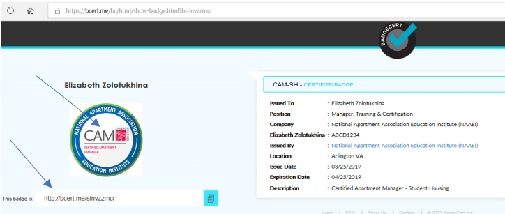 The landing page where the user can claim their BadgeCert.