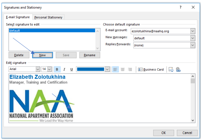 """A screenshot of the Signatures popup window, with a blue arrow pointing to the """"New"""" button"""