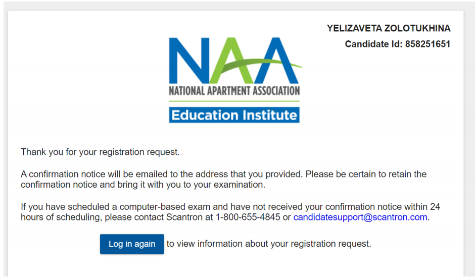 A confirmation page thanking the user for scheduling their exam.