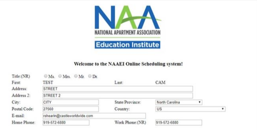 The NAAEI online scheduler's page for collecting information about the user, such as address.
