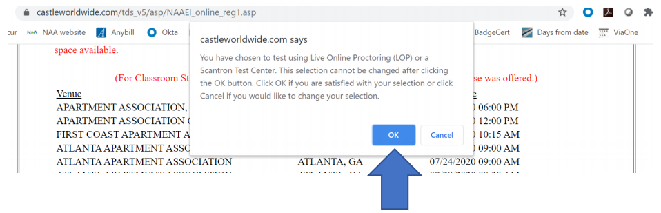 A popup confirming that the user wants to do Scantron testing.