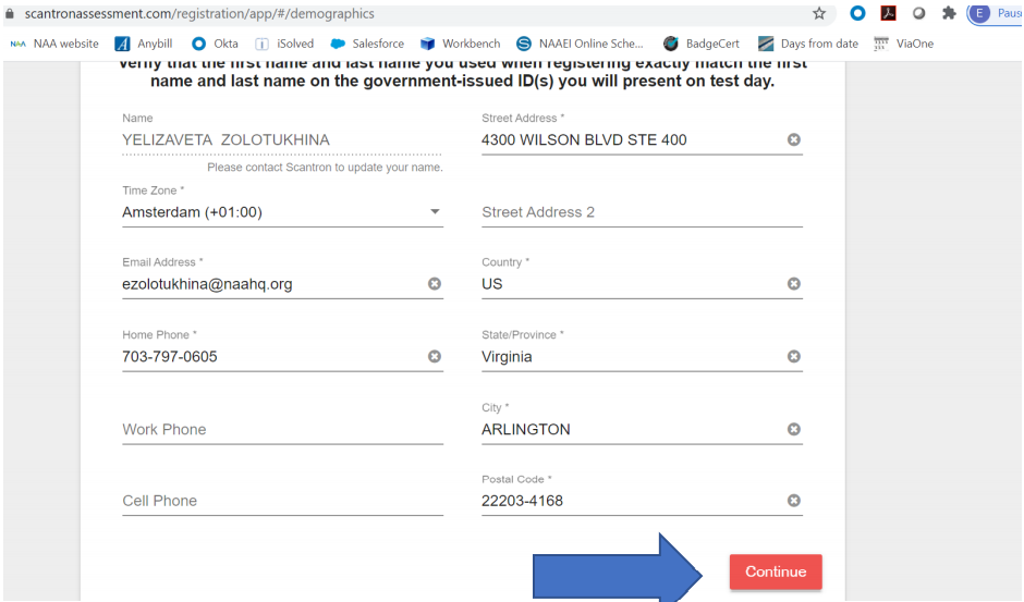 A demographics information collection form for the user to fill out and a blue arrow pointing to the continue button.