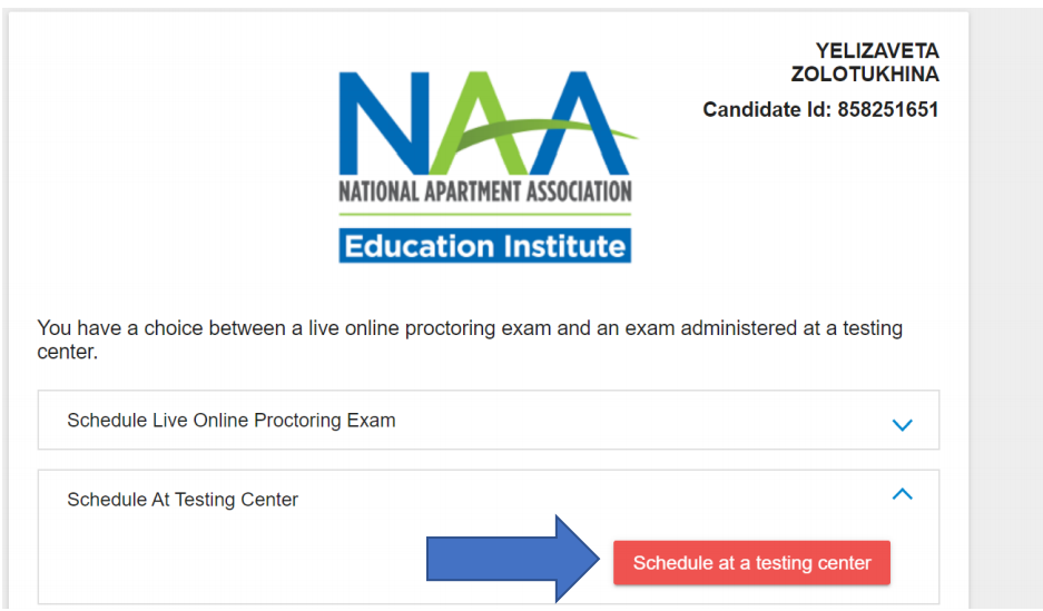 """The same test site selection page, but with the """"Schedule at Testing Center"""" option expanded and a blue arrow pointing to a button reading, """"Schedule at a testing center""""."""